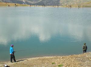 Pesca sul lago a Livigno